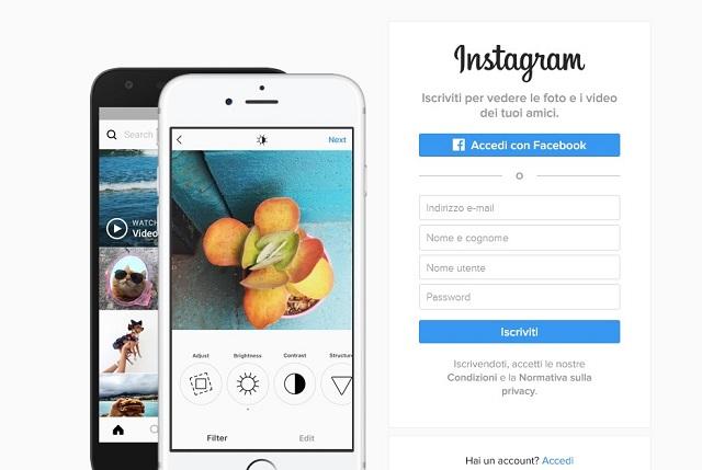Instagram registrazione