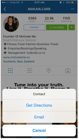 pulsante contatto profilo business