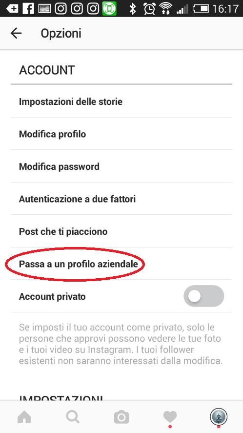Profilo business su Instagram