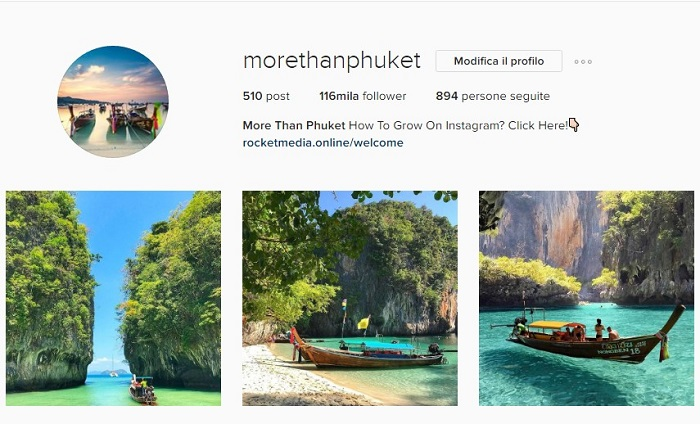 Profilo Instagram morethanphuket