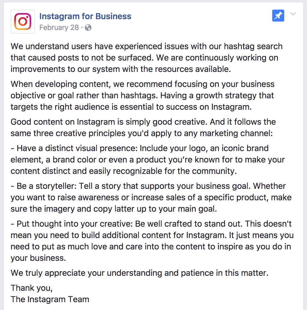 Comunicato Instagram