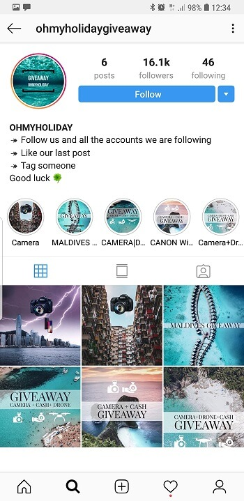 Profilo Give Away Instagram