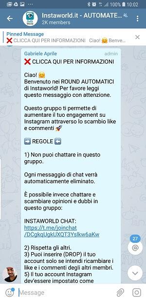 Gruppo Telegram Instagram